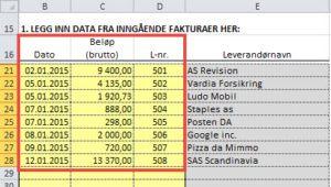 Excel-app for bokføring av inngående faktura